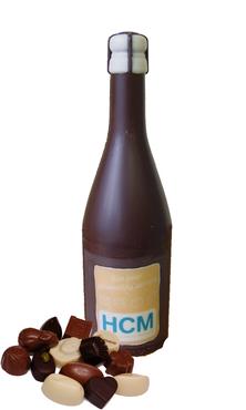 Chocolade champagnefles gepersonaliseerd